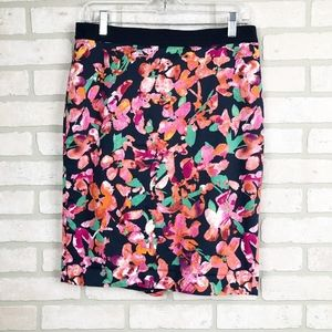 Ann Taylor Navy Pink Floral Casual Skirt Size 8